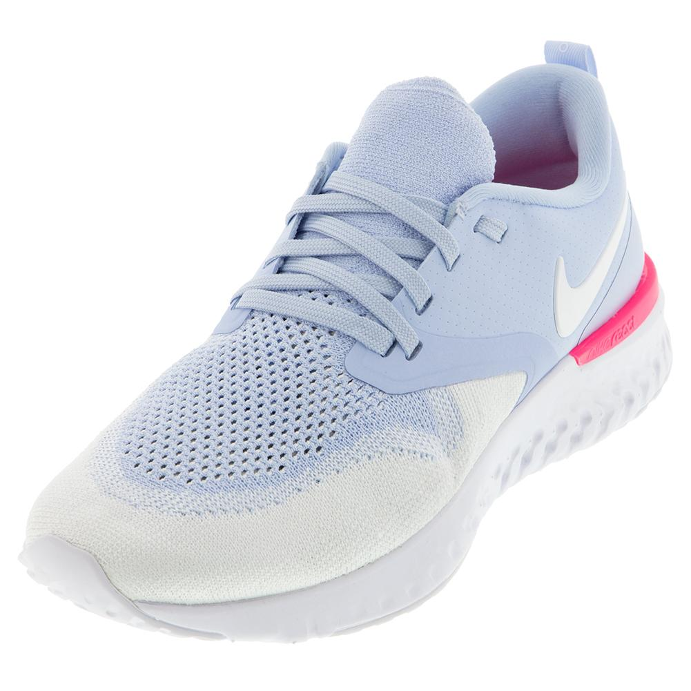 the latest c1449 ffba6 Nike Women s Odyssey React Flyknit 2 Running Shoes Hydrogen Blue and White