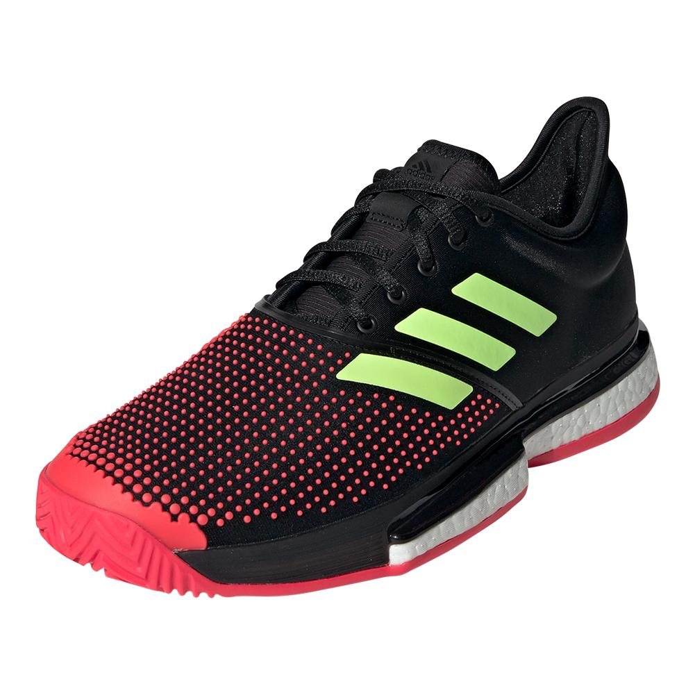 825ec0fc70a02 Adidas Men s SoleCourt Boost Tennis Shoes Black and Shock Red