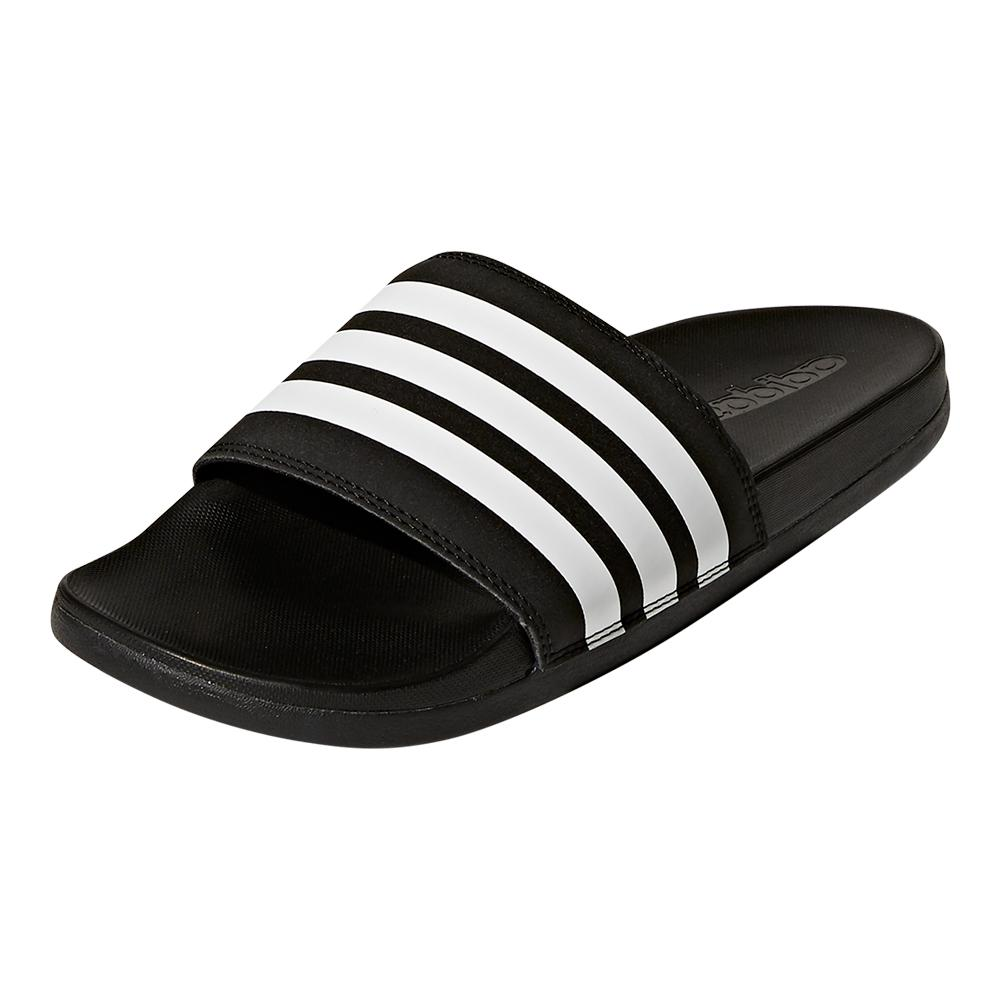 e8acfec00695 adidas Women`s Adilette Cloudfoam Plus Stripes Slides in Black and ...