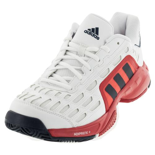 Men's Barricade Court 2 Tennis Shoes White And Viviid Red