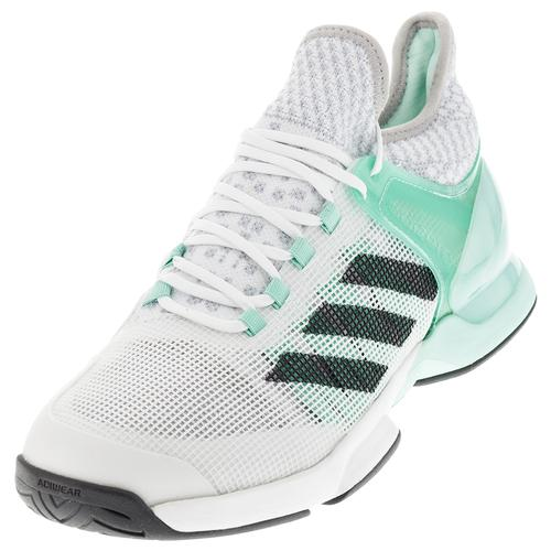 Men's Adizero Ubersonic 2 Tennis Shoes Ice Green And Dgh Solid Gray