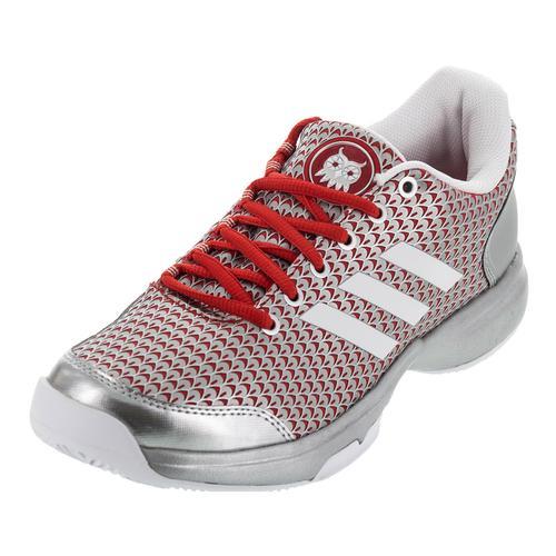 Women's Adizero Ubersonic 2 Athena Tennis Shoes White And Silver Metallic