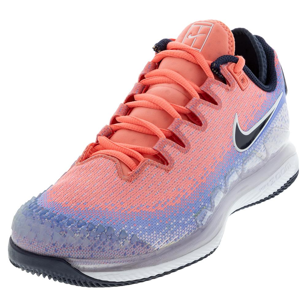 Women's Air Zoom Vapor X Knit Tennis Shoes Royal Pulse And Obsidian