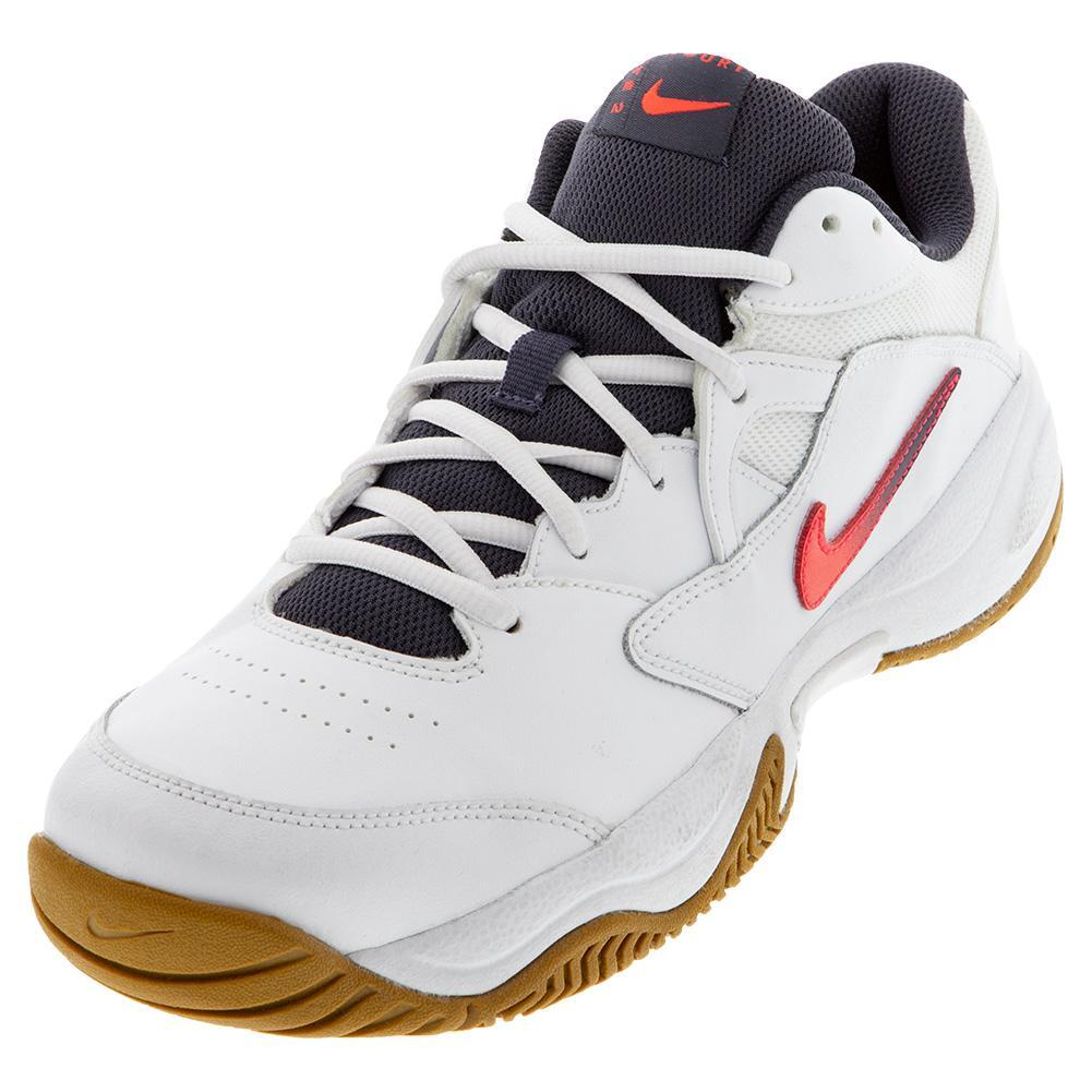 Men's Court Lite 2 Tennis Shoes White And Laser Crimson