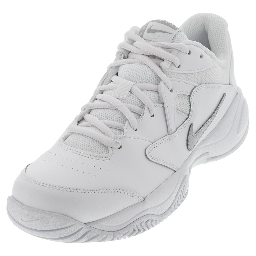 Women's Court Lite 2 Tennis Shoes White And Metallic Silver