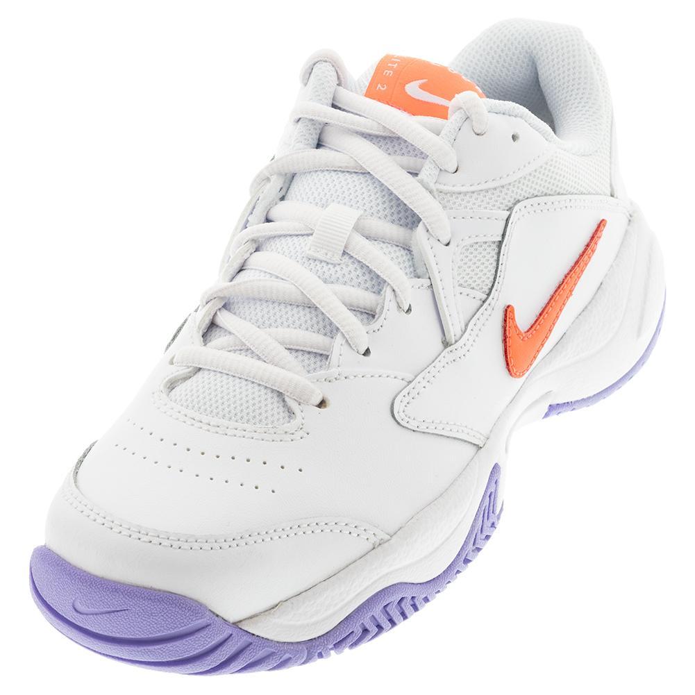 Women's Court Lite 2 Tennis Shoes White And Bright Mango