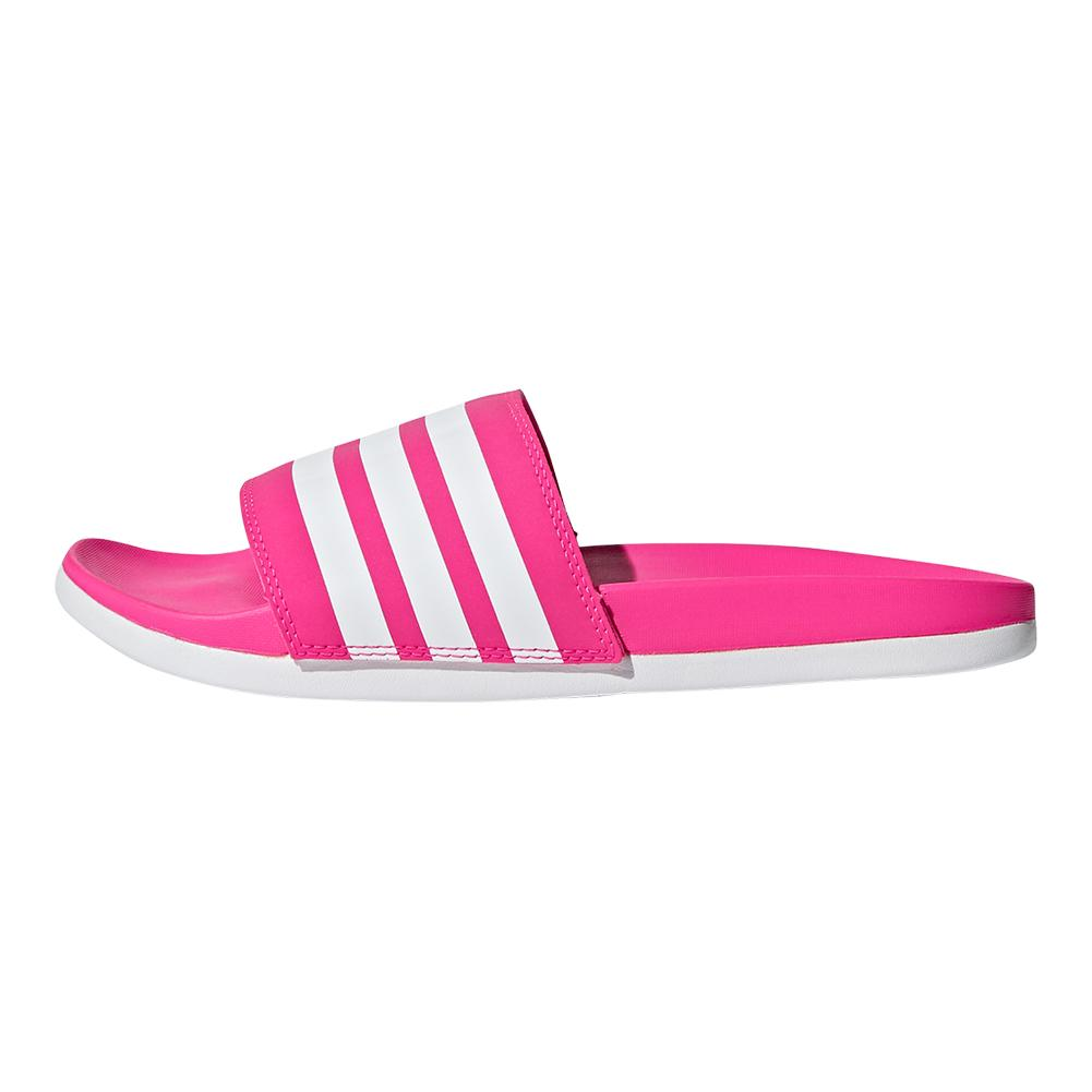 51183874b7b3 Women s Adilette Cloudfoam Plus Stripes Slides Shock Pink And White. Zoom.  Hover to zoom click to enlarge. 360 View