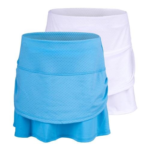 Girls ` Pindot Rouched Tier Tennis Skort