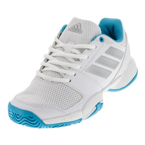 Juniors ` Barricade Club Tennis Shoes White And Silver Metallic