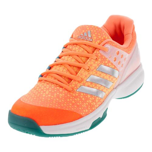 Women's Adizero Ubersonic 2 Tennis Shoes Glow Orange And Silver Metallic
