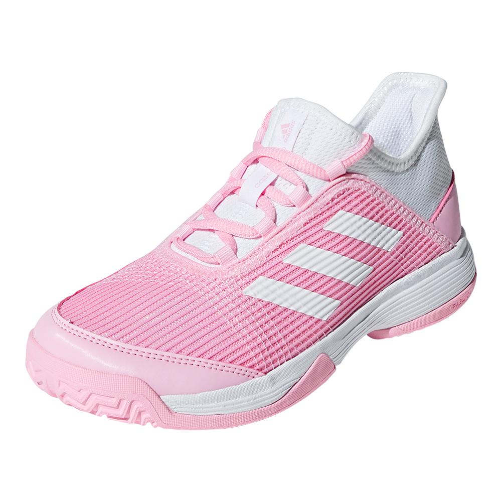 Juniors ` Adizero Club K Tennis Shoes True Pink And White