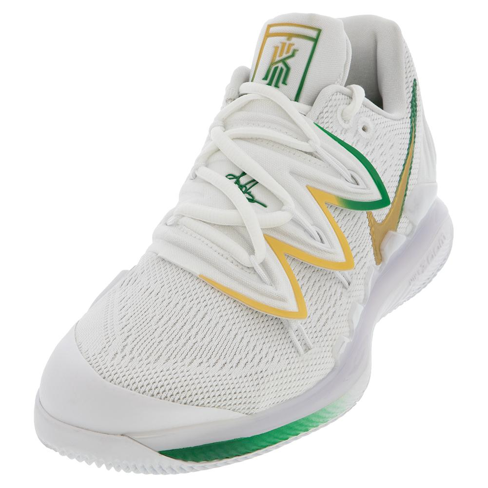 35a2aa7d Men's Air Zoom Vapor X Kyrie V Celtics Tennis Shoes White And Metallic Gold