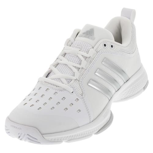 Women's Barricade Classic Bounce Tennis Shoes White And Silver Metallic
