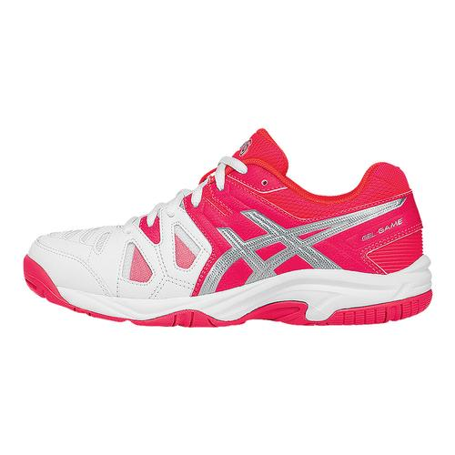 Juniors ` Gel- Game 5 Tennis Shoes White And Diva Pink