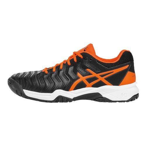 Juniors ` Gel- Resolution 7 Tennis Shoes Black And Shocking Orange