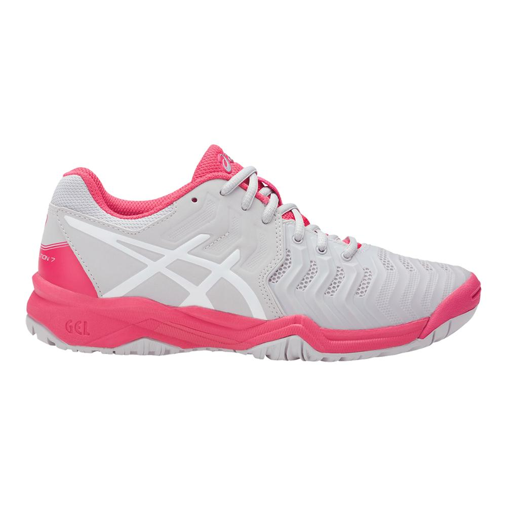 Women S Gel Resolution  Tennis Shoes Glacier Gray And Rouge Red