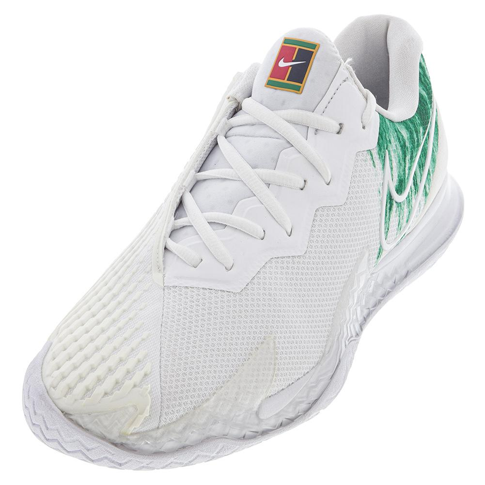Men's Air Zoom Vapor Cage 4 Tennis Shoes White And Clover