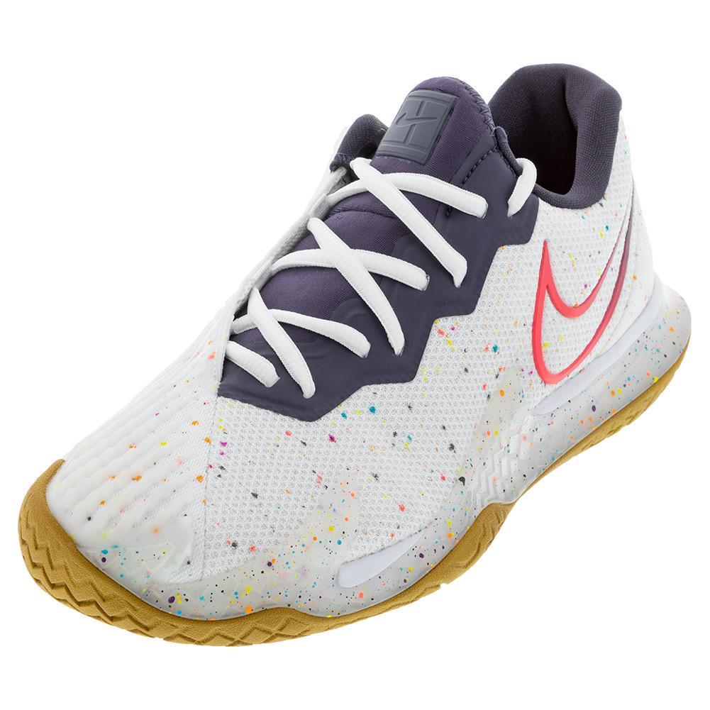 Men's Air Zoom Vapor Cage 4 Tennis Shoes White And Laser Crimson