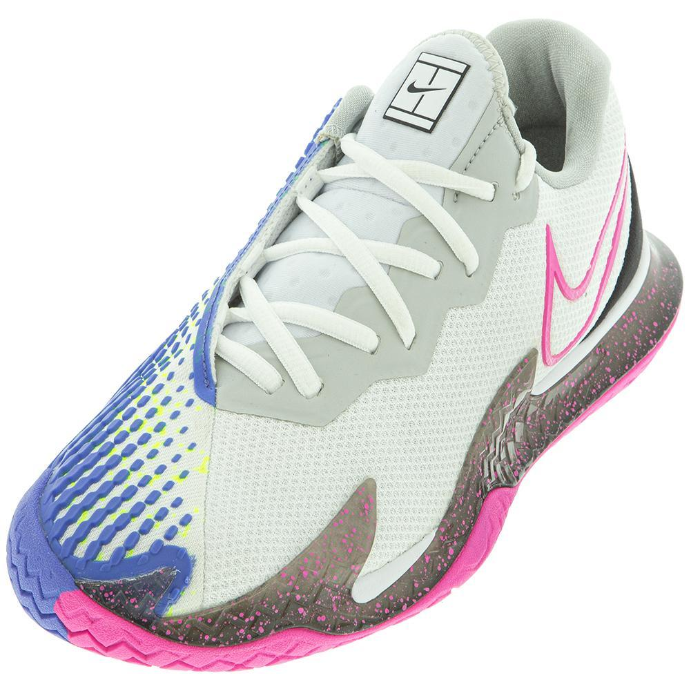 Women's Air Zoom Vapor Cage 4 Tennis Shoes White And Laser Fuchsia
