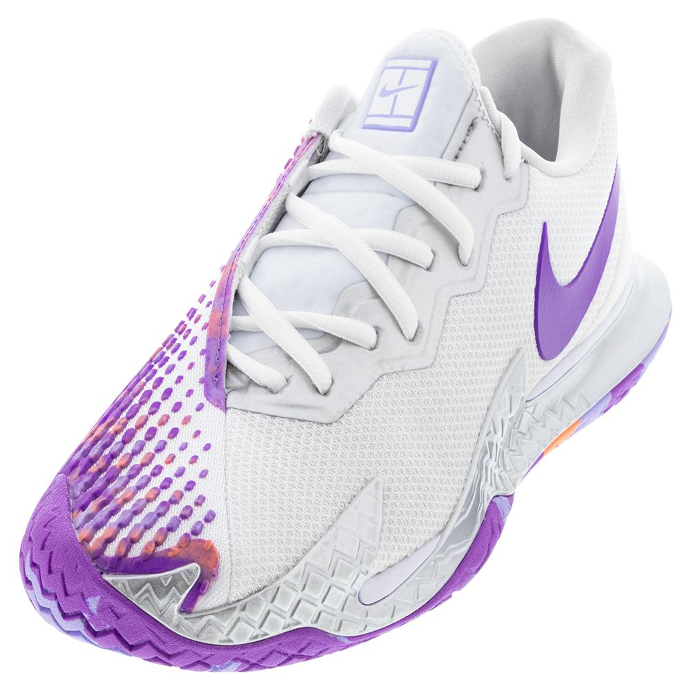 Women's Court Air Zoom Vapor Cage 4 Tennis Shoes White And Wild Berry