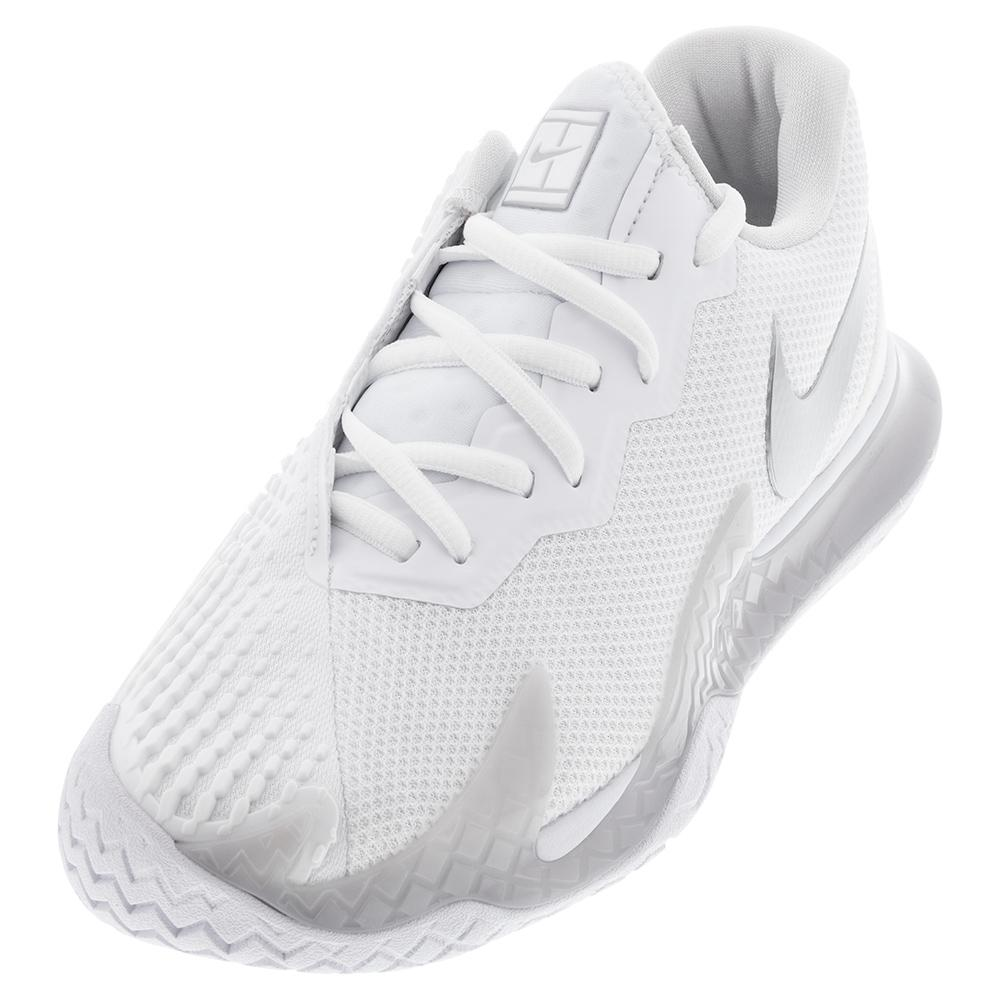 Women's Court Air Zoom Vapor Cage 4 Tennis Shoes White And Metallic Silver