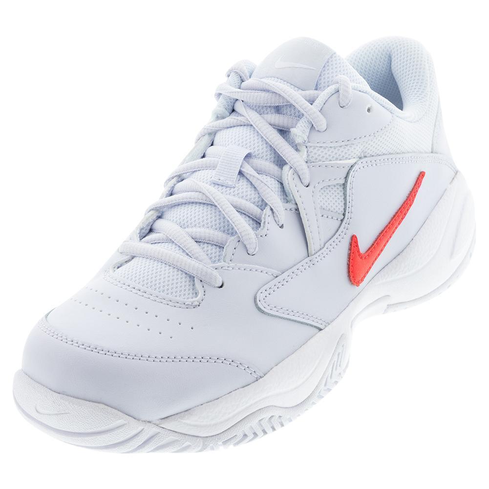 Juniors ` Court Lite 2 Tennis Shoes Football Grey And Bright Crimson