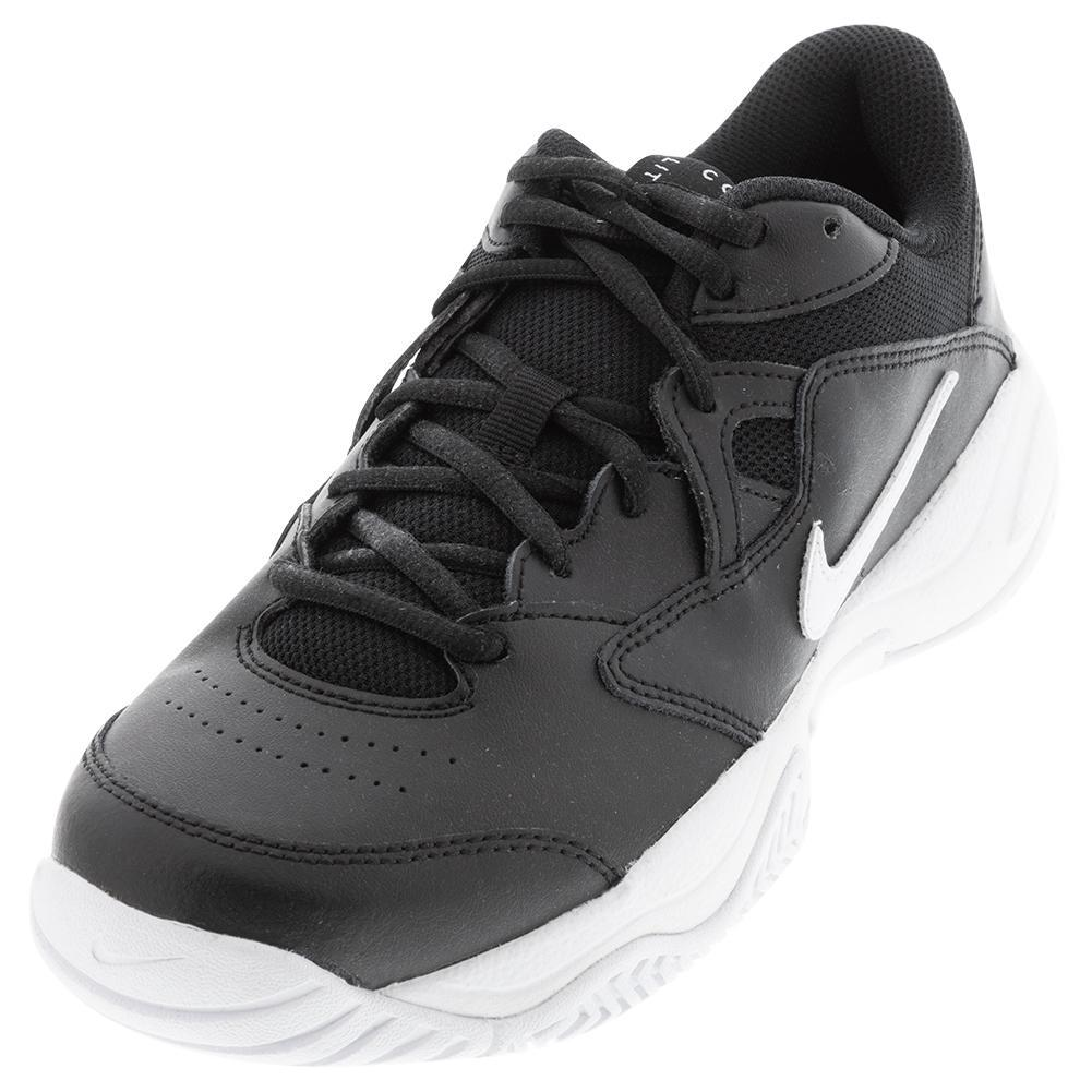Juniors ` Court Lite 2 Tennis Shoes Black And White