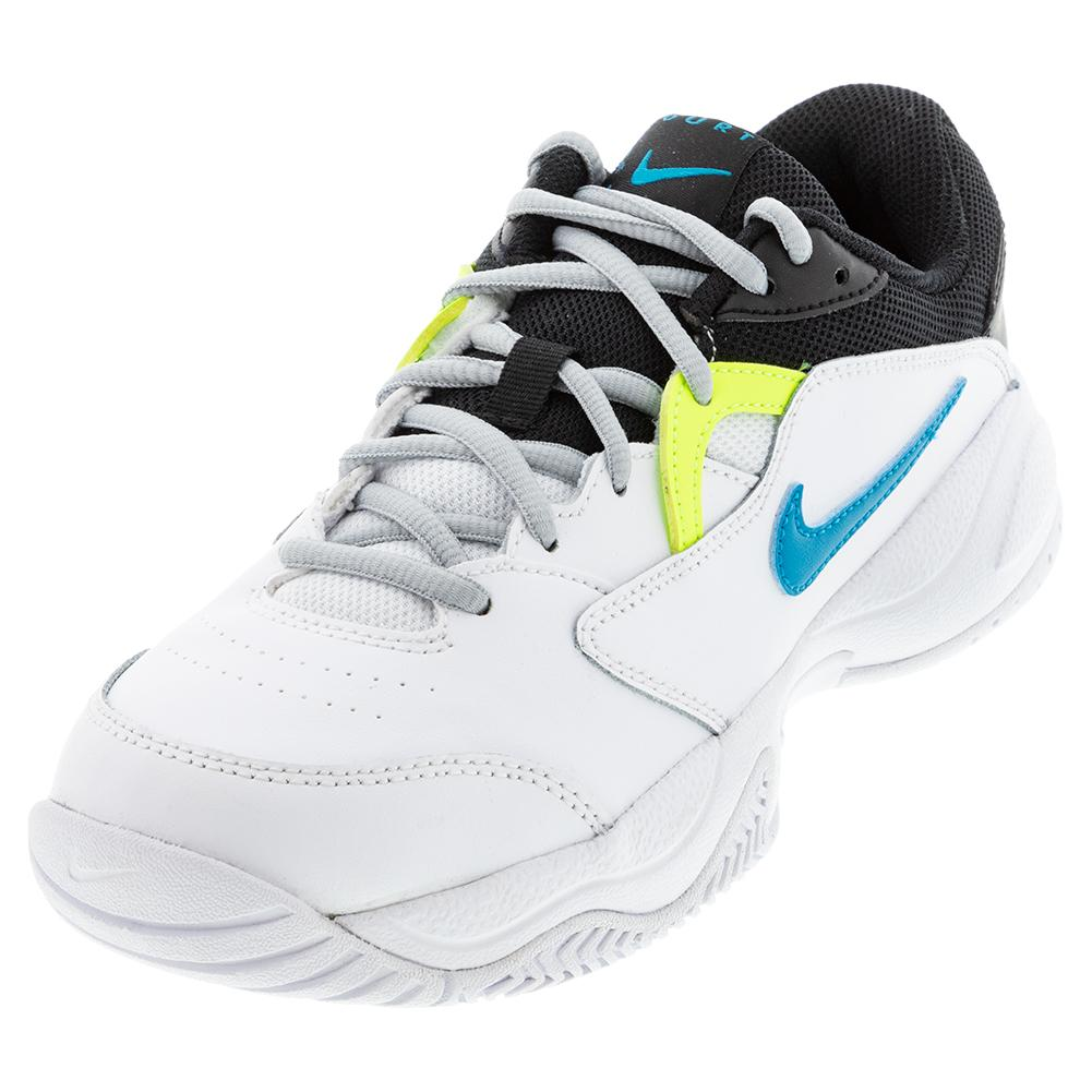 Juniors ` Court Lite 2 Tennis Shoes White And Neo Turq