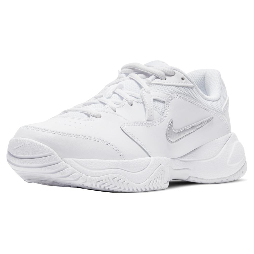 Juniors ` Court Lite 2 Tennis Shoes White And Metallic Silver
