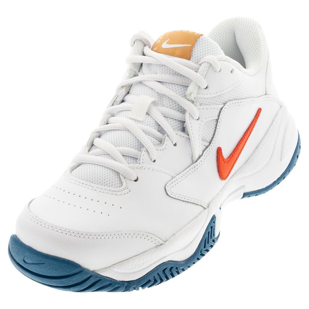 Juniors ` Court Lite 2 Tennis Shoes White And Team Orange