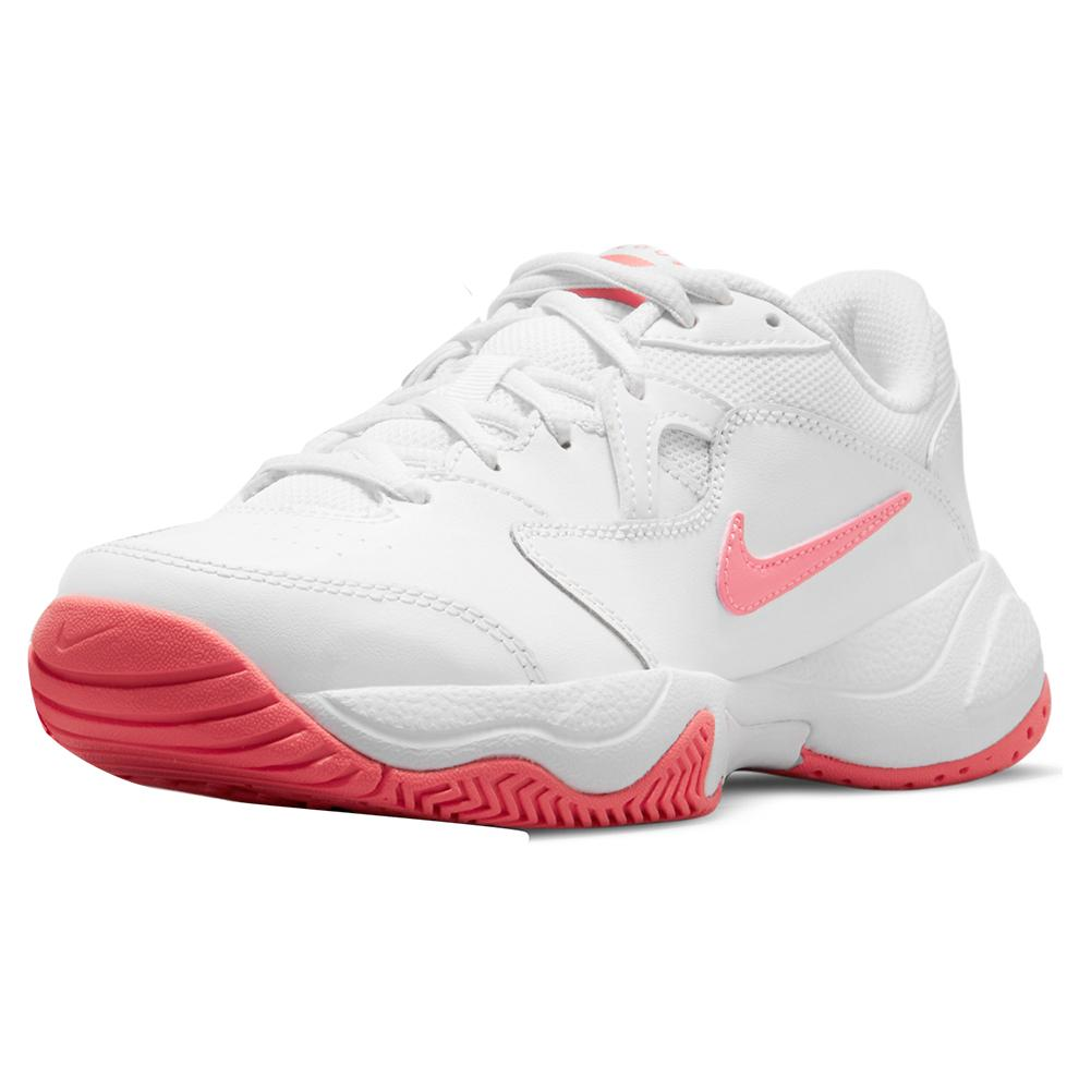 Juniors ` Court Lite 2 Tennis Shoes White And Pink Salt