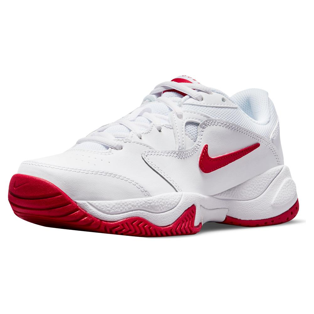 Juniors ` Court Lite 2 Tennis Shoes White And University Red