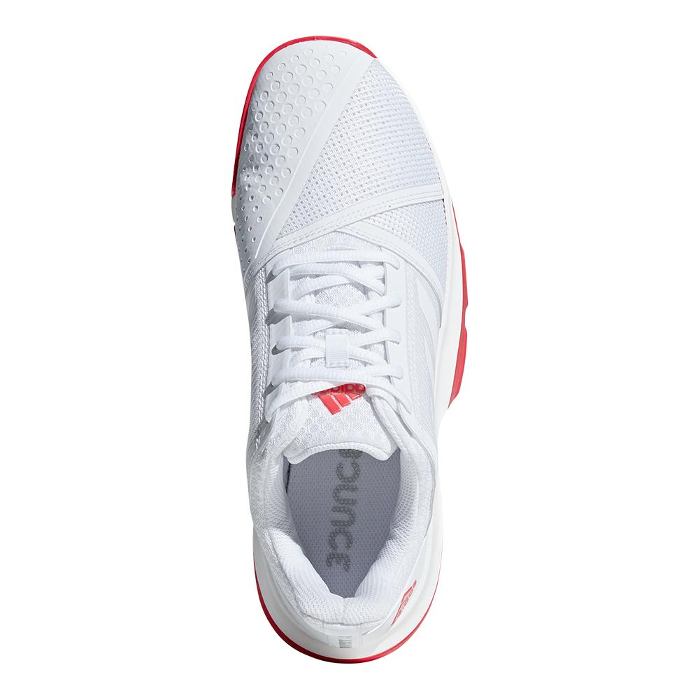 ADIDAS ADIDAS Men s Courtjam Bounce Tennis Shoes White And Shock Red. Zoom.  Hover to zoom click to enlarge. 360 View 6ba42d474