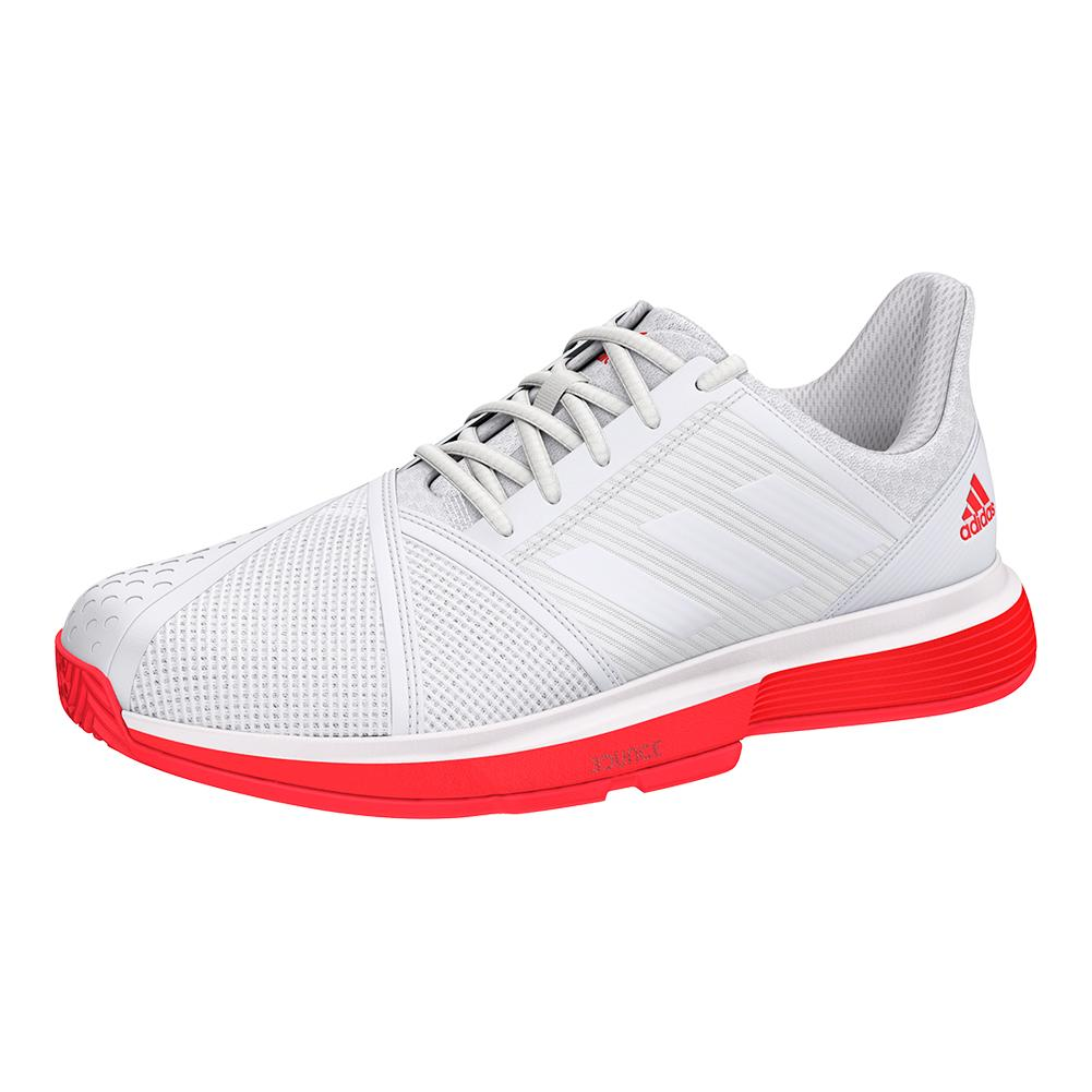 Men's Courtjam Bounce Tennis Shoes White And Shock Red