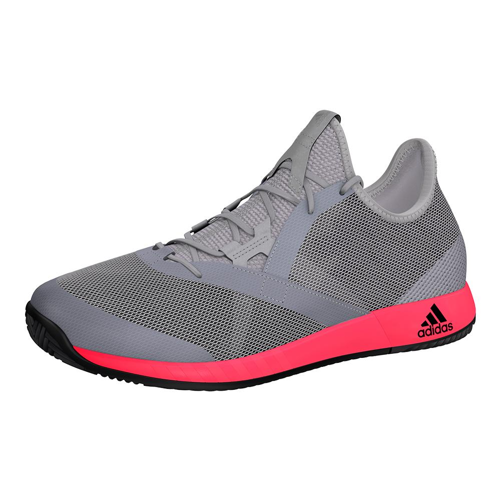Men's Adizero Defiant Bounce Tennis Shoes Light Granite And Shock Red