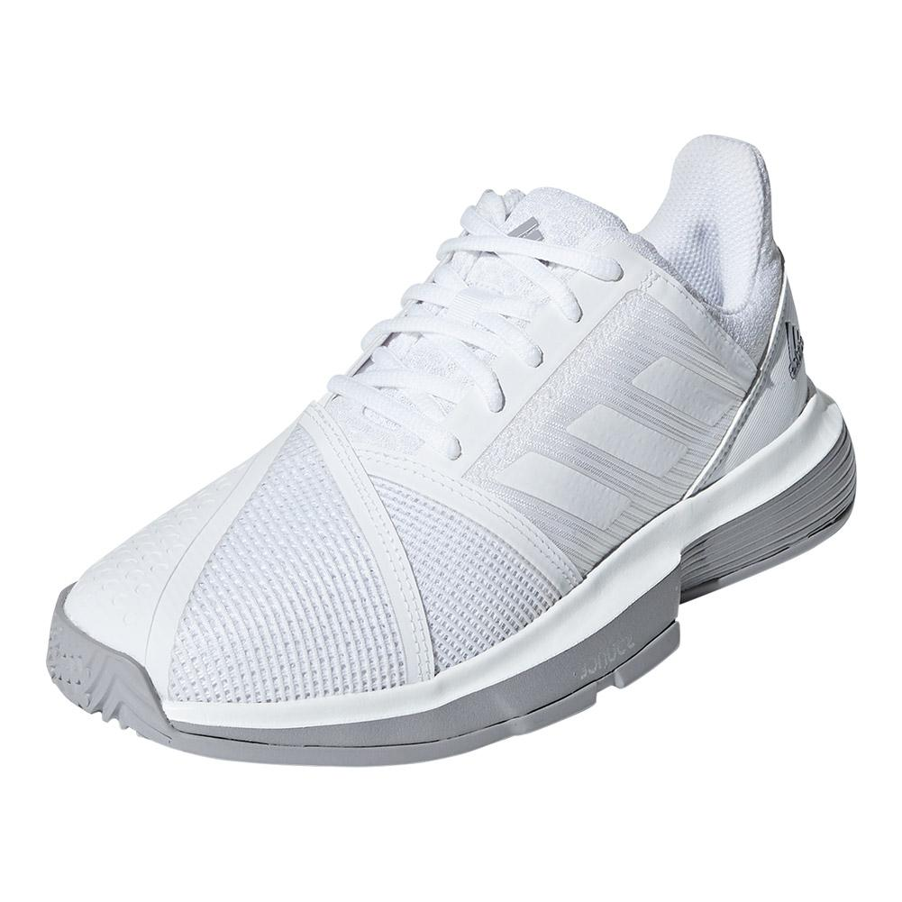 Women's Courtjam Bounce Tennis Shoes White And Light Granite
