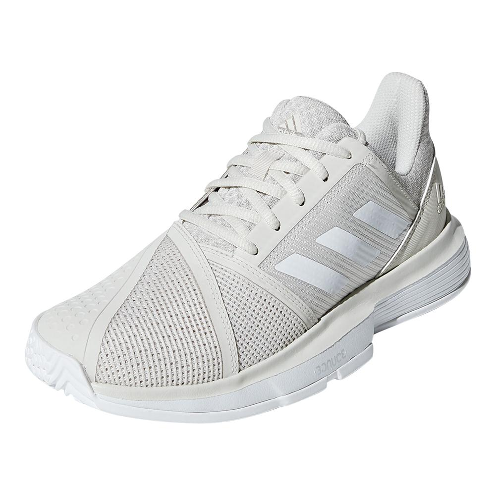 Women's Courtjam Bounce Tennis Shoes Raw White And Matte Silver