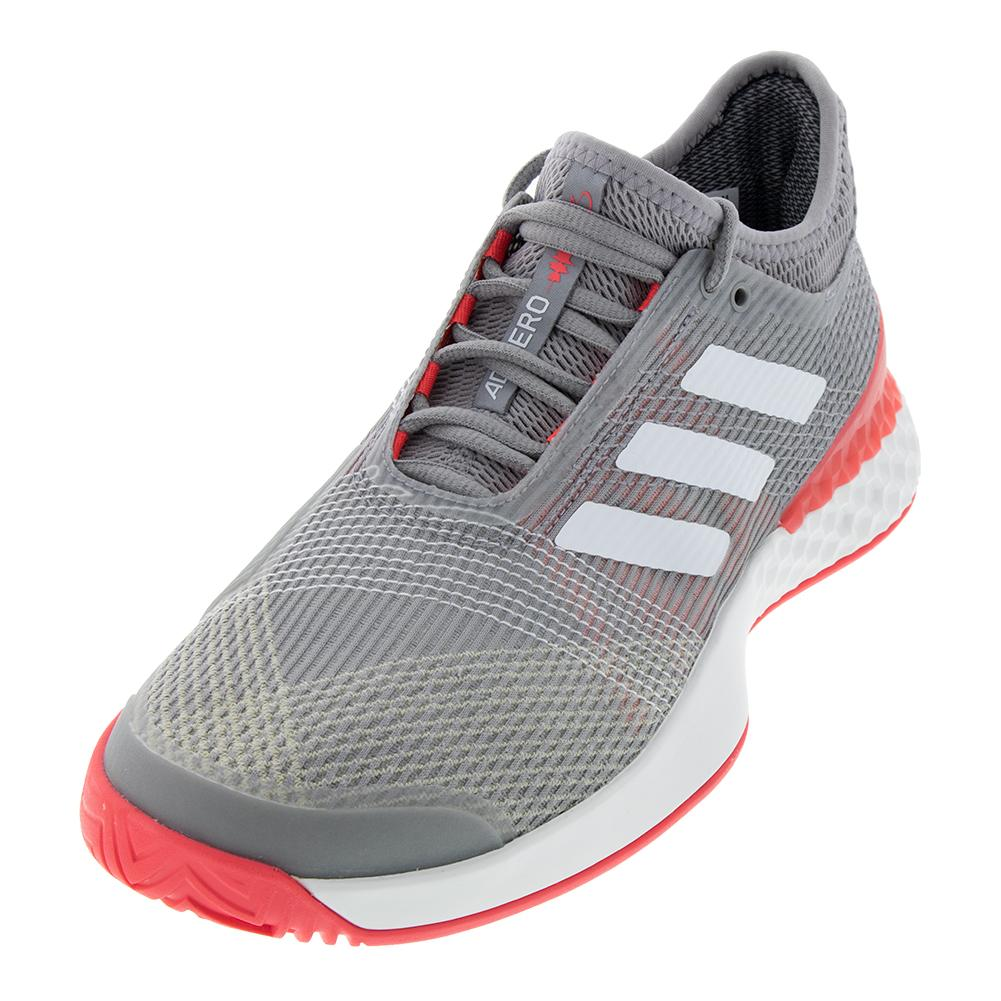 sale retailer 1a579 185a9 ADIDAS ADIDAS Mens Adizero Ubersonic 3.0 Tennis Shoes Light Granite And  White