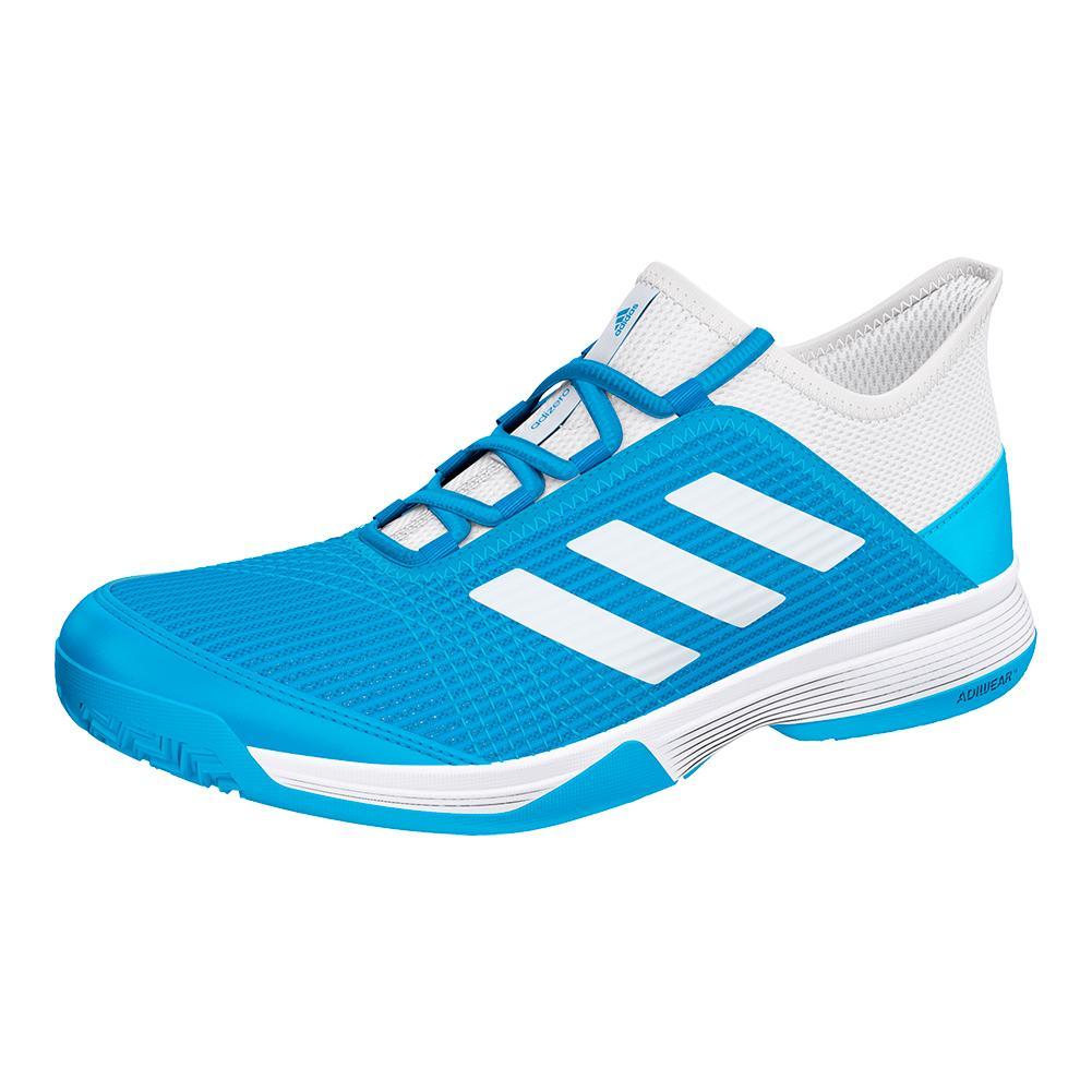 Juniors ` Adizero Club K Tennis Shoes Shock Cyan And White