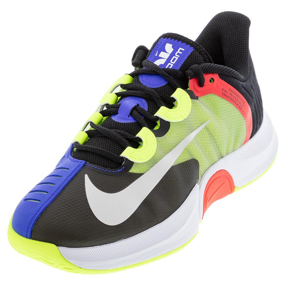 Men's Court Air Zoom Gp Turbo Tennis Shoes Black And Volt