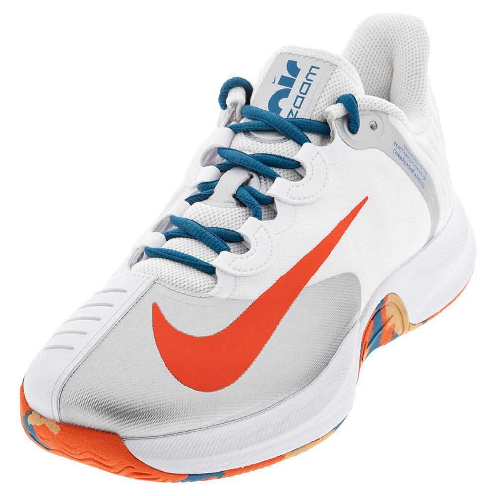 Men's Court Air Zoom Gp Turbo Tennis Shoes White And Team Orange
