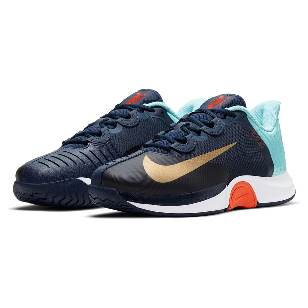 Men's Court Air Zoom Gp Turbo Tennis Shoes Obsidian And Metallic Gold