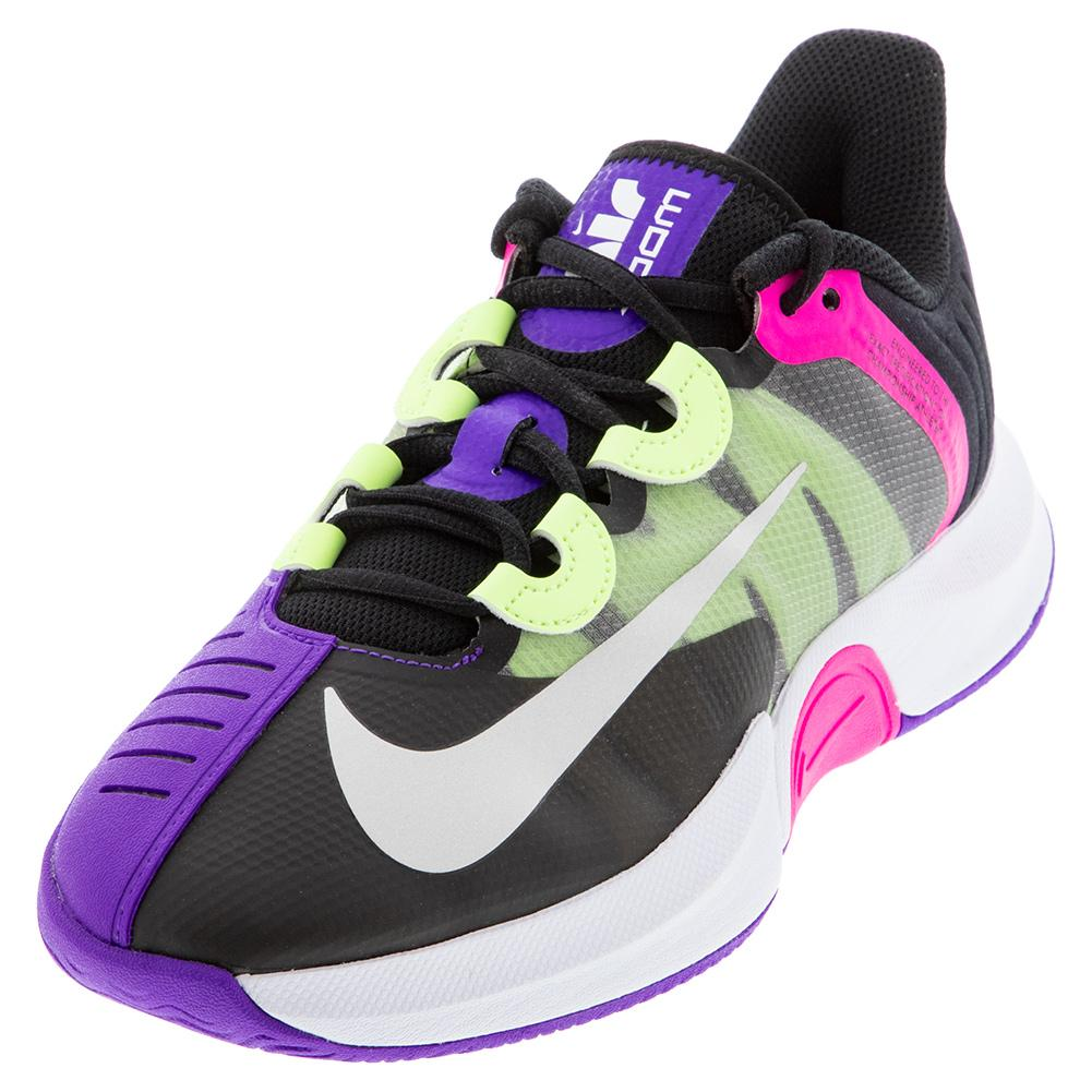 Women's Court Air Zoom Gp Turbo Tennis Shoes Black And White