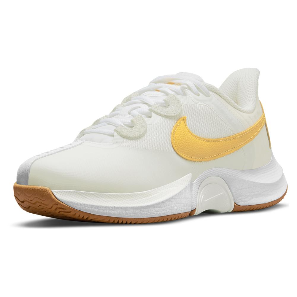 Women's Court Air Zoom Gp Turbo Tennis Shoes Summit White And University Gold