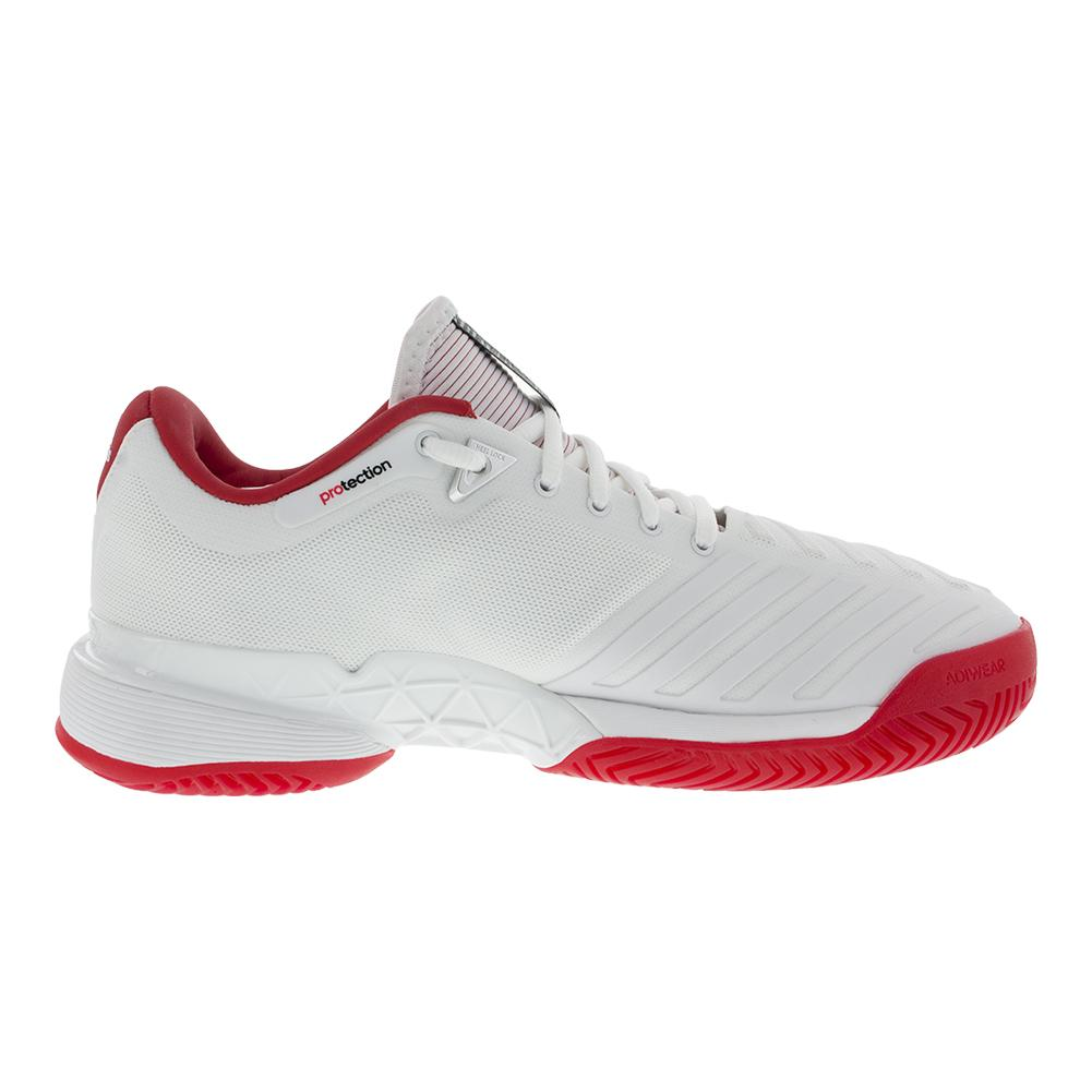 d4f6380ea46 adidas Women s Barricade 2018 Tennis Shoes in White and Scarlet