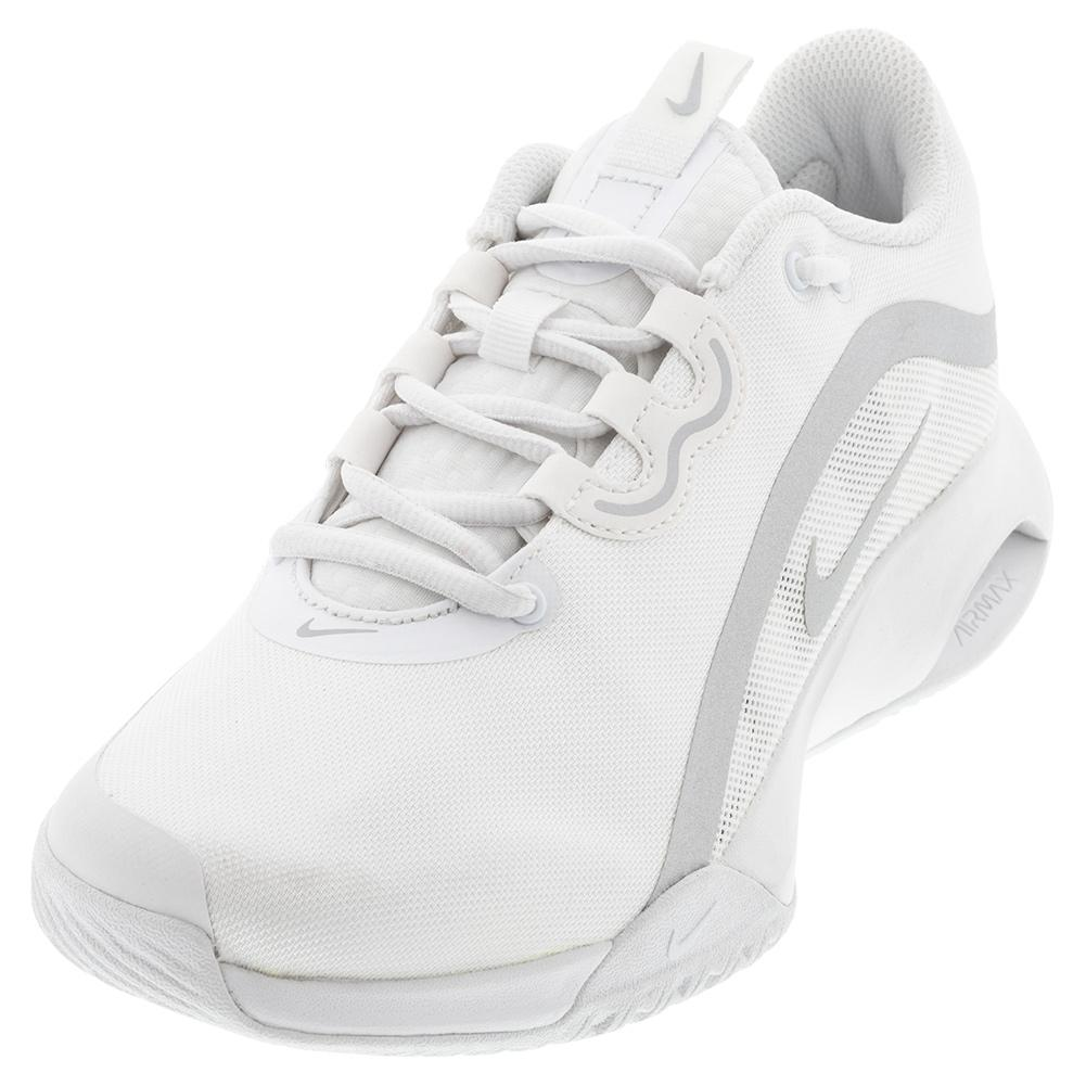 Women's Air Max Volley Tennis Shoes White And Metallic Silver