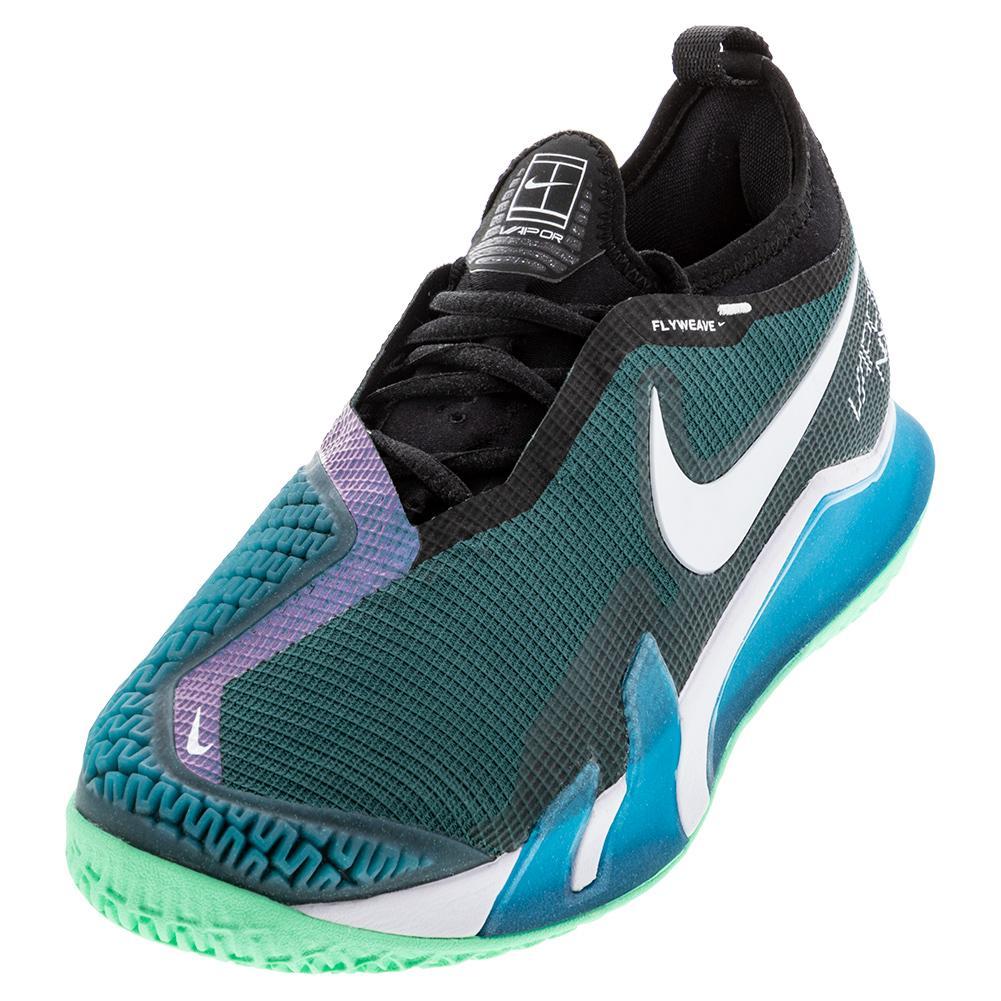 Men's React Vapor Nxt Tennis Shoes Dark Teal Green And White