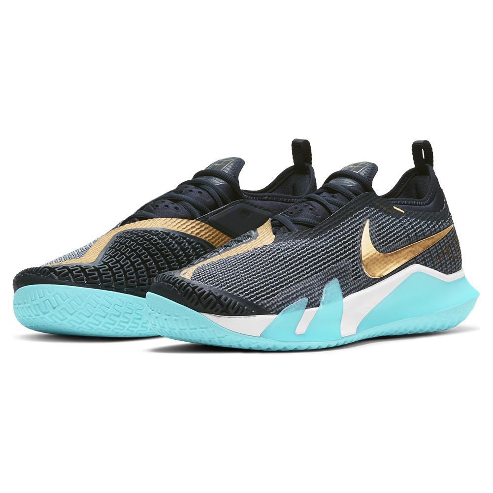 Men's React Vapor Nxt Tennis Shoes Dark Obsidian And Metallic Gold