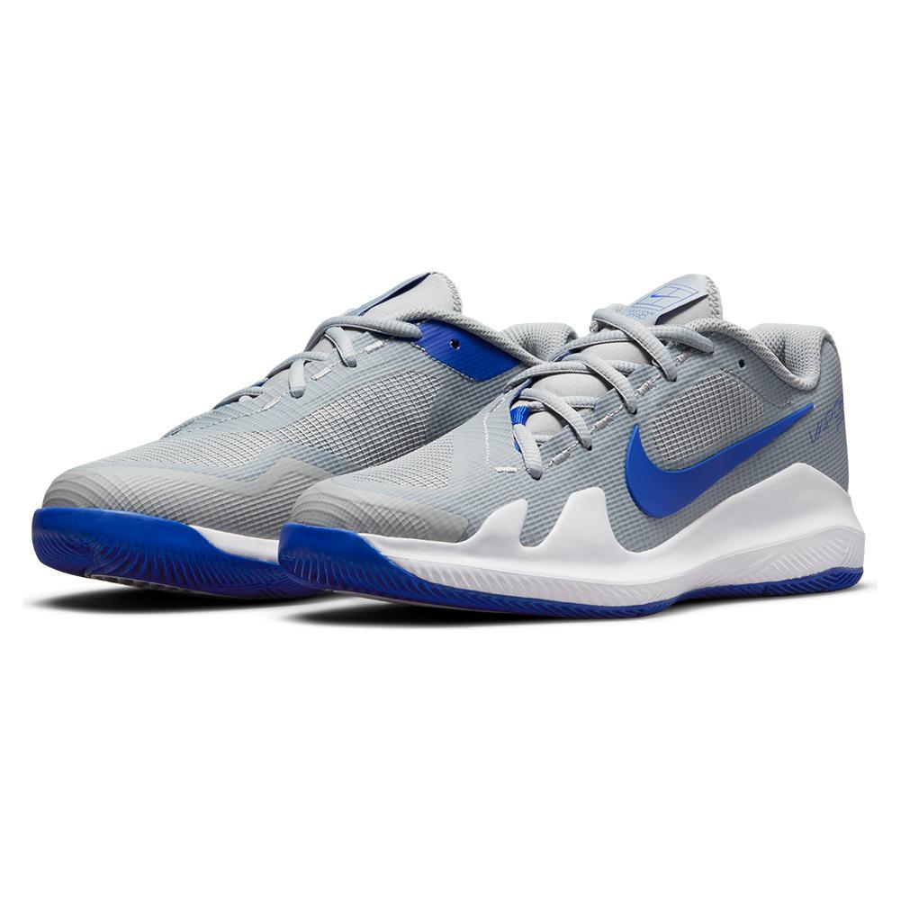 Juniors ` Vapor Pro Tennis Shoes Light Smoke Grey And Hyper Royal