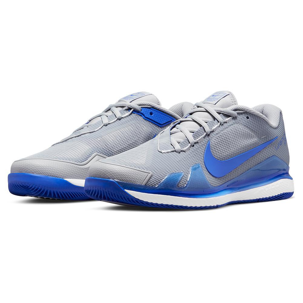 Men's Air Zoom Vapor Pro Tennis Shoes Light Smoke Grey And Hyper Royal